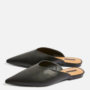 Topshop black leather pointed flat mules